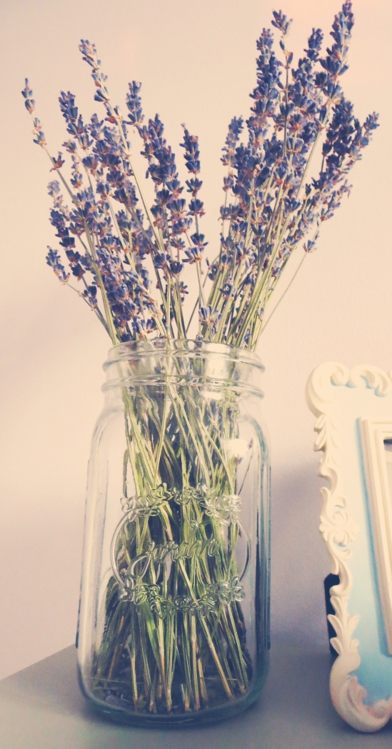 IMG_0049_2I I put a bunch of lavenders in a large mason jar and placed it on my bedside table. Not only does it look rustically French, it also exudes a soothing fragrance to help fall asleep and a refreshing scent to rise and shine in the morning.