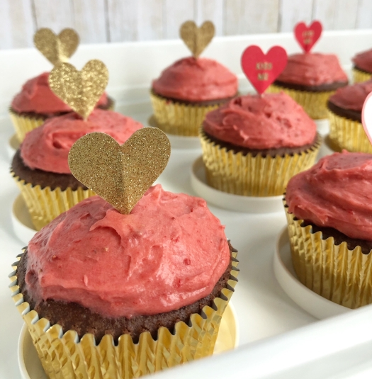 Chocolate strawberry cupcakes
