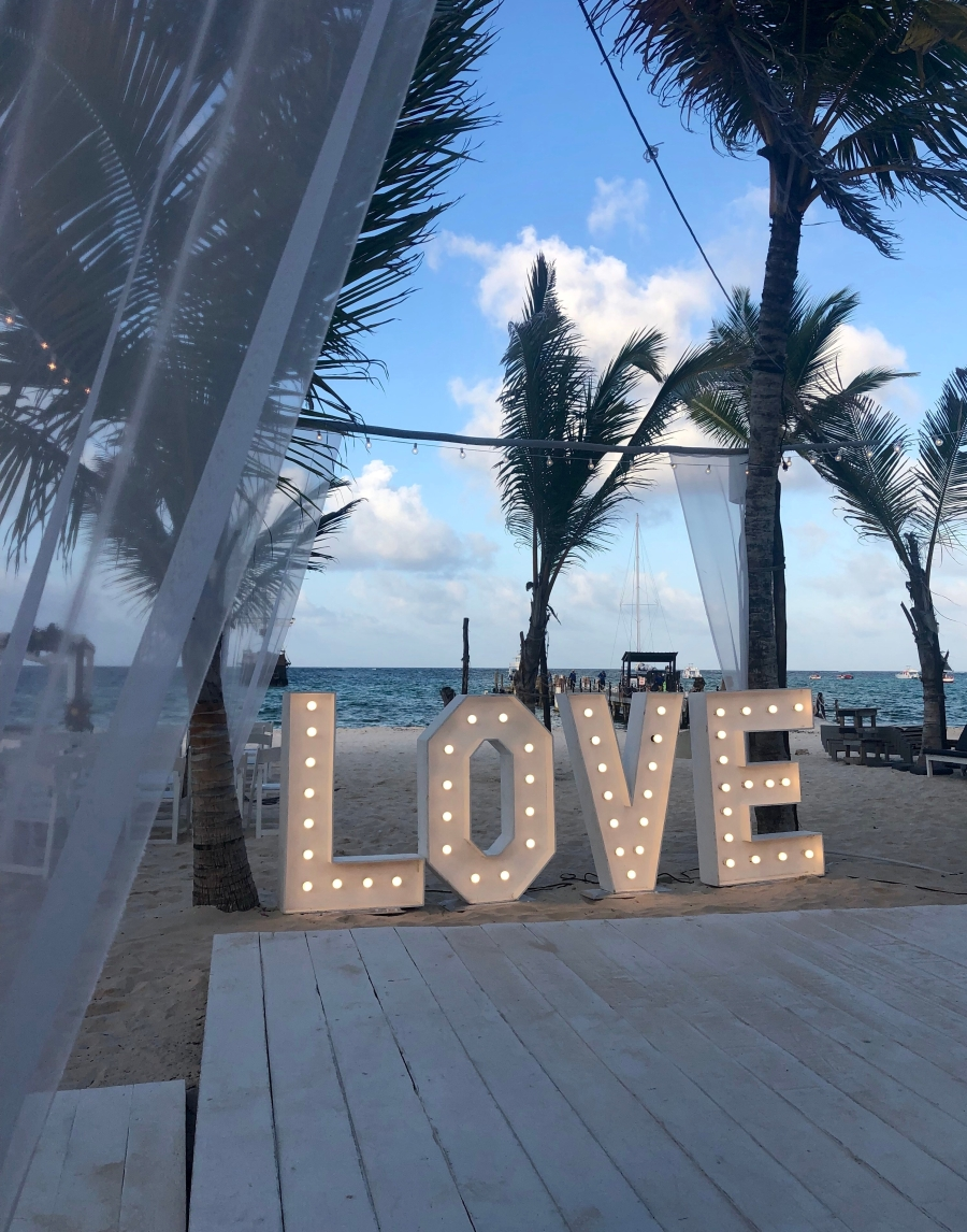 LOVE Sign Destination Wedding